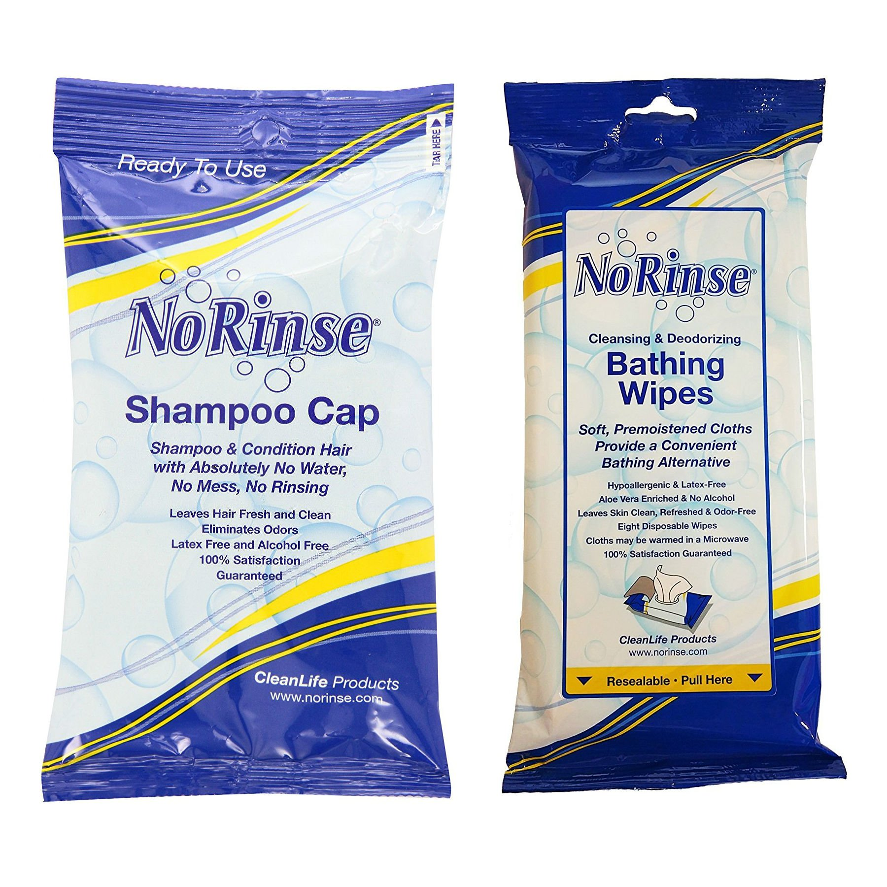 No-Rinse Cleansing & Deodorizing Bathing Wipes + No-Rinse Shampoo Cap (5 of each) by No-Rinse