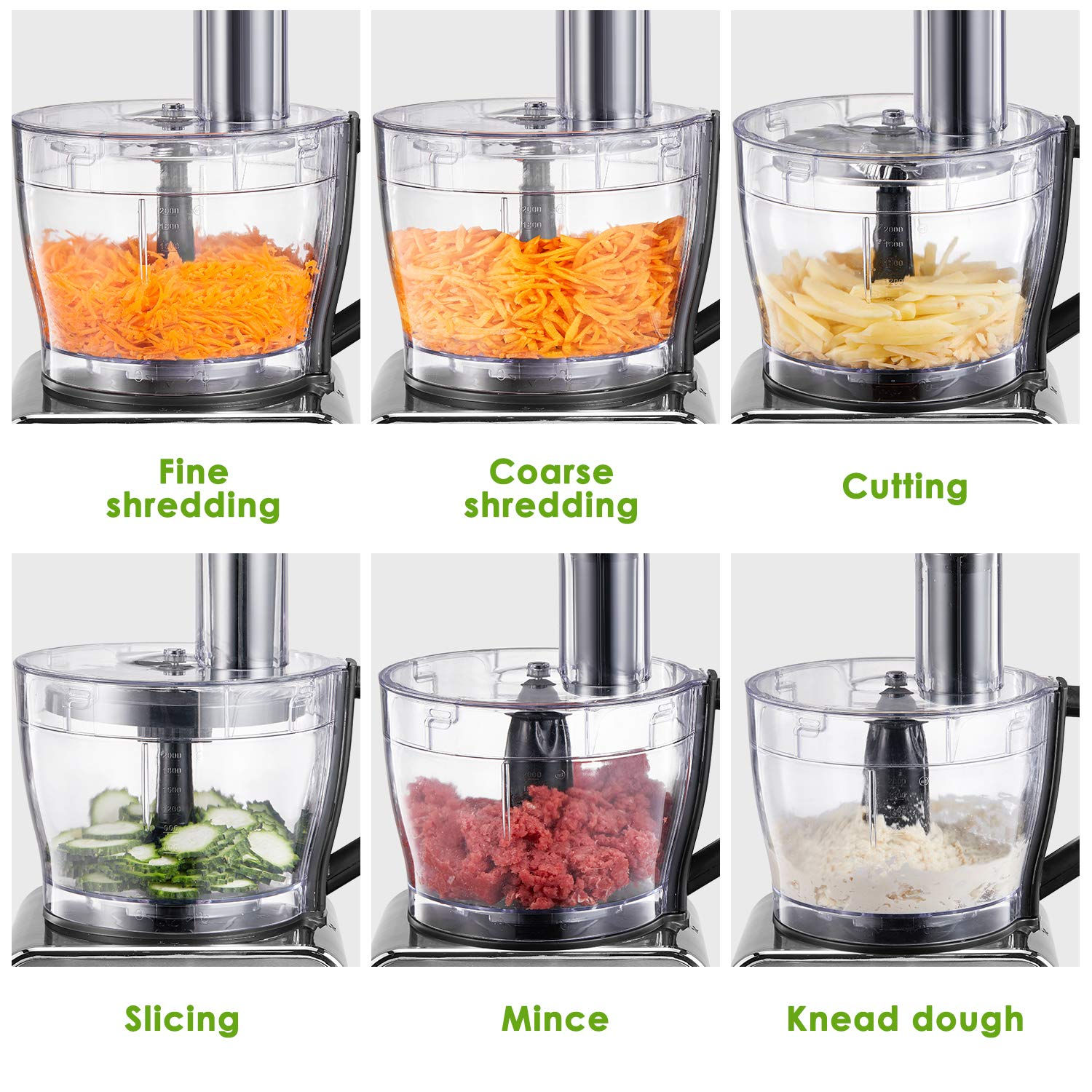 Food Processor 12-Cup, Multi-Function Food Processor 6 Main Functions with Chopper Blade, Dough Blade, Shredder, Slicing Attachments, 3 Speed 600W Powerful Processor, Silver by Tibek (Image #2)