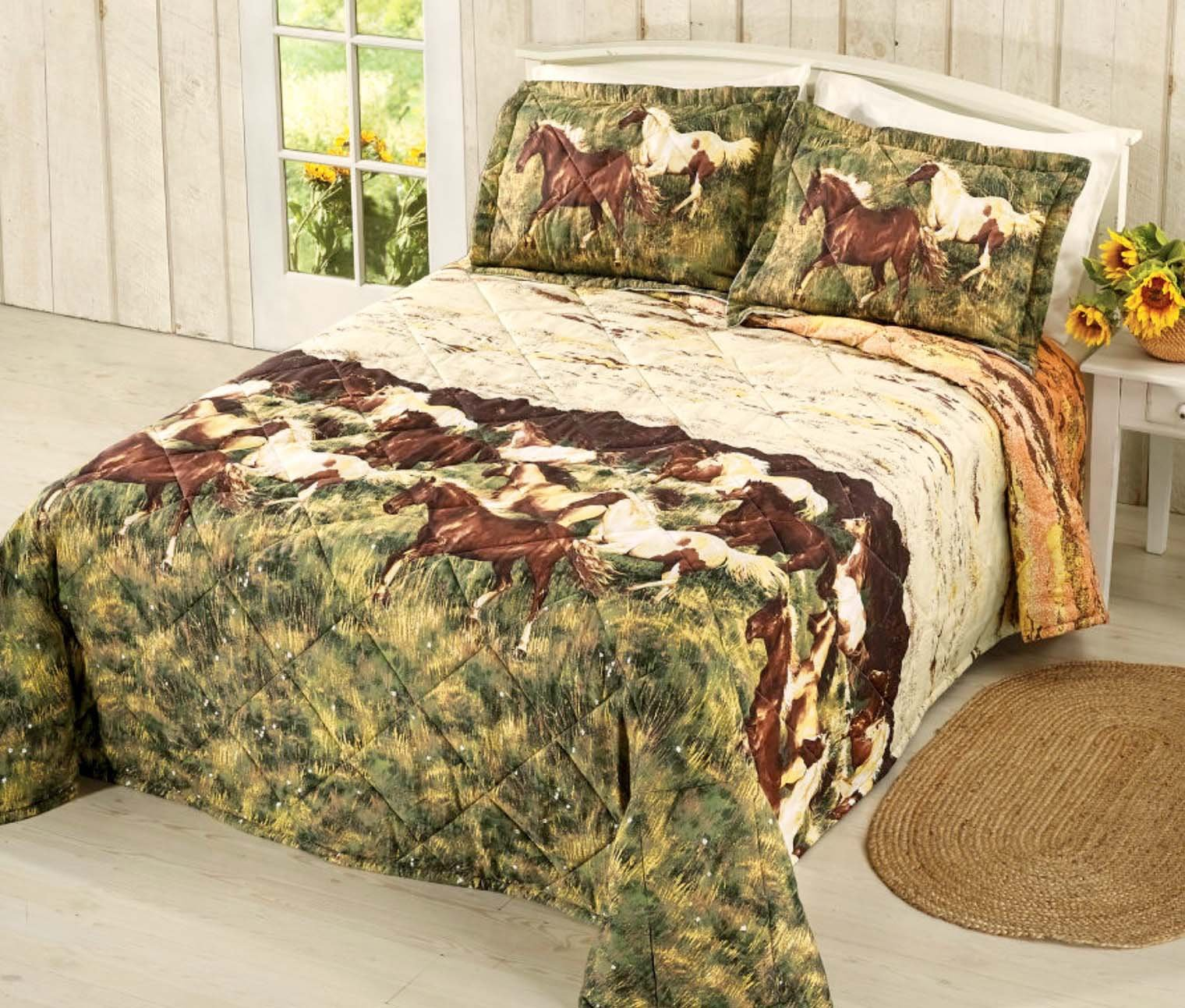 SUNSET RUN Western Equestrian Galloping HORSES QUILTED Bedspread + TWO KING PILLOW SHAMS (3pc KING SIZE)