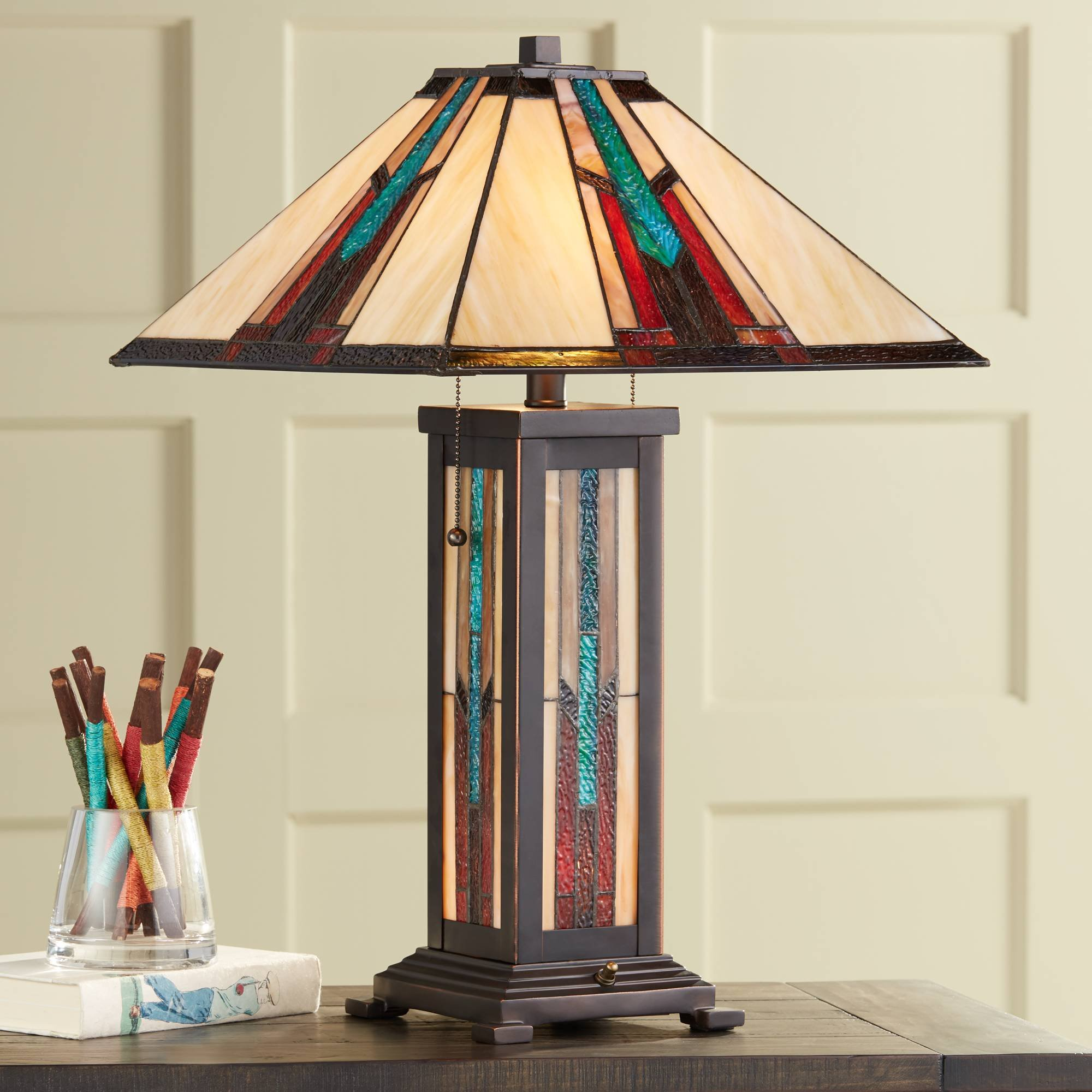 Ranier Mission Table Lamp with Nightlight Bronze Stained Glass for Living Room Family Bedroom Bedside Nightstand - Robert Louis Tiffany