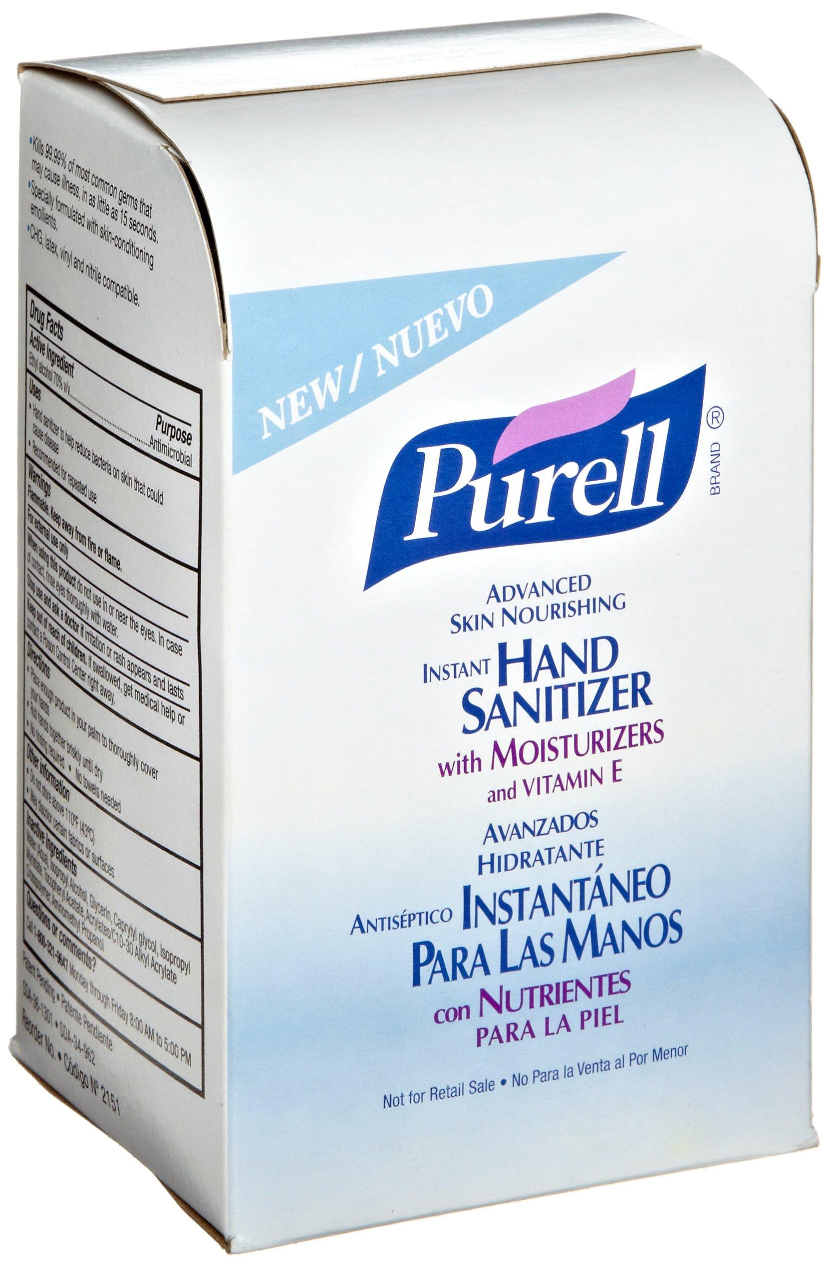 PURELL 215108CT Advanced Instant Hand Sanitizer w/Derma Glycerin NXT Refill, 1000mL (Case of 8)