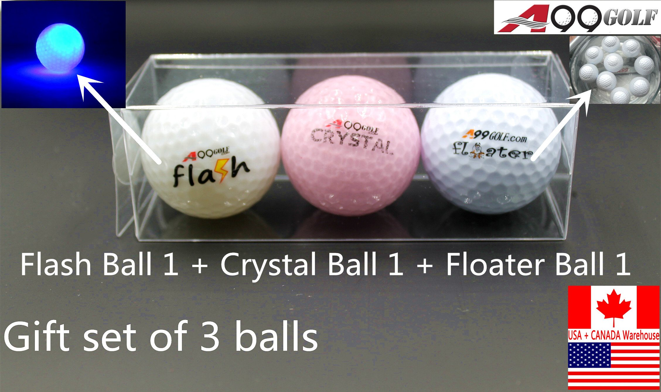 3pcs/set A99 Golf Practice aid gift set 1 crystal ball+1 flashing ball Green+ 1 floater ball, packed in PVC Box