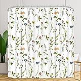 Riyidecor Fabric Floral Shower Curtain 72Wx72H Inch Botanical Plant Green Leaves Flower Watercolor Herbs Decor Bathroom Batht