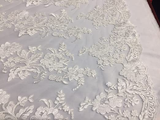 Pick a Size Ivory Flower Design Embroidered on Mesh Lace Fabric Floral Bridal Lace Wedding Dress by the Yard