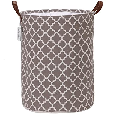 Sea Team Moroccan Lattice Pattern Laundry Hamper Canvas Fabric Laundry Basket Collapsible Storage Bin with PU Leather Handles and Drawstring Closure, 19.7 by 15.7 inches, Waterproof Inner, Grey