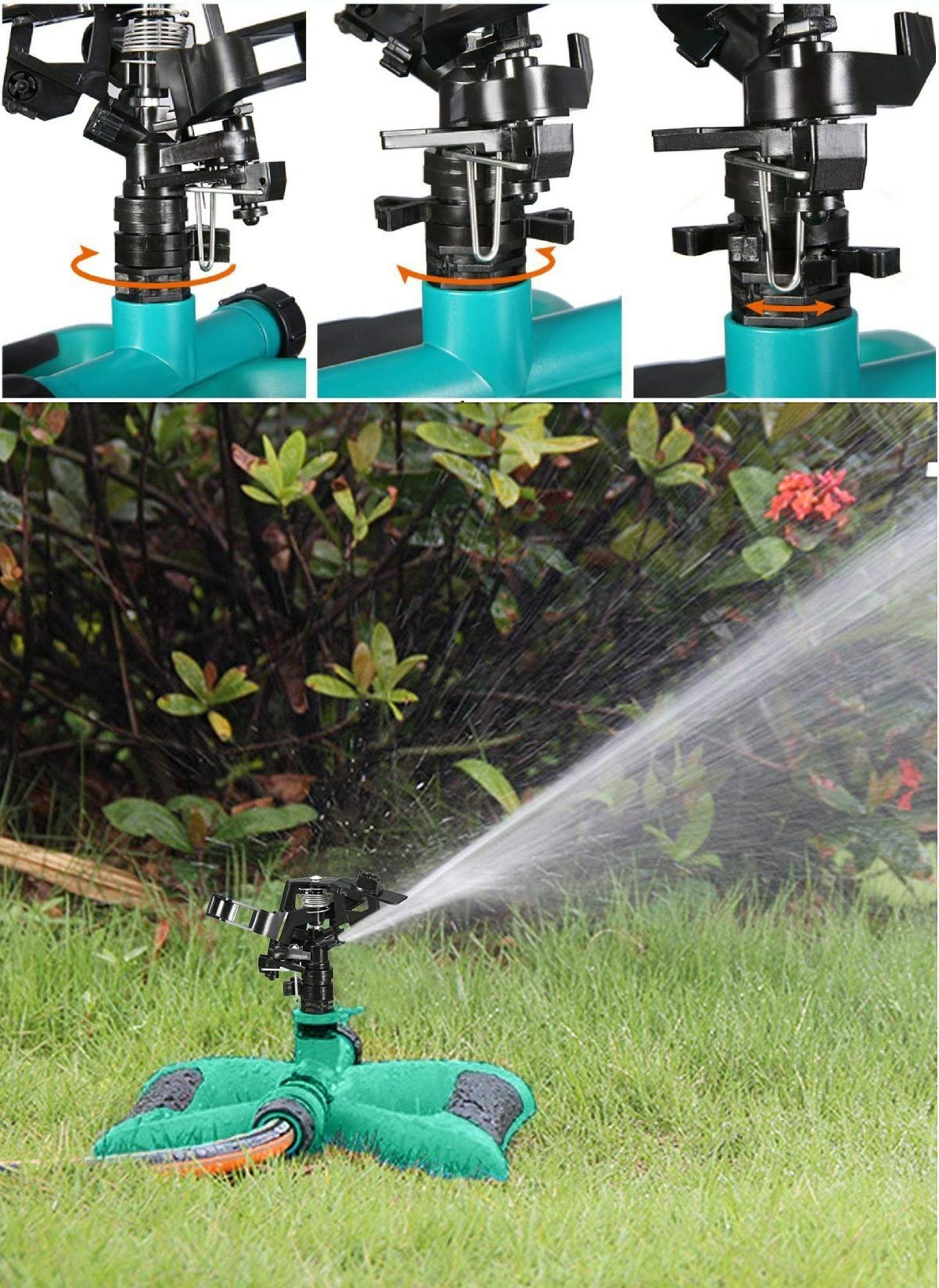 ALLESCOOL Garden Sprinkler, 360° Fully Circle Rotating Water Sprinkler Garden Pipe Hose Irrigation, 2 Sprinkler Head for Gardens & Lawns Irrigation