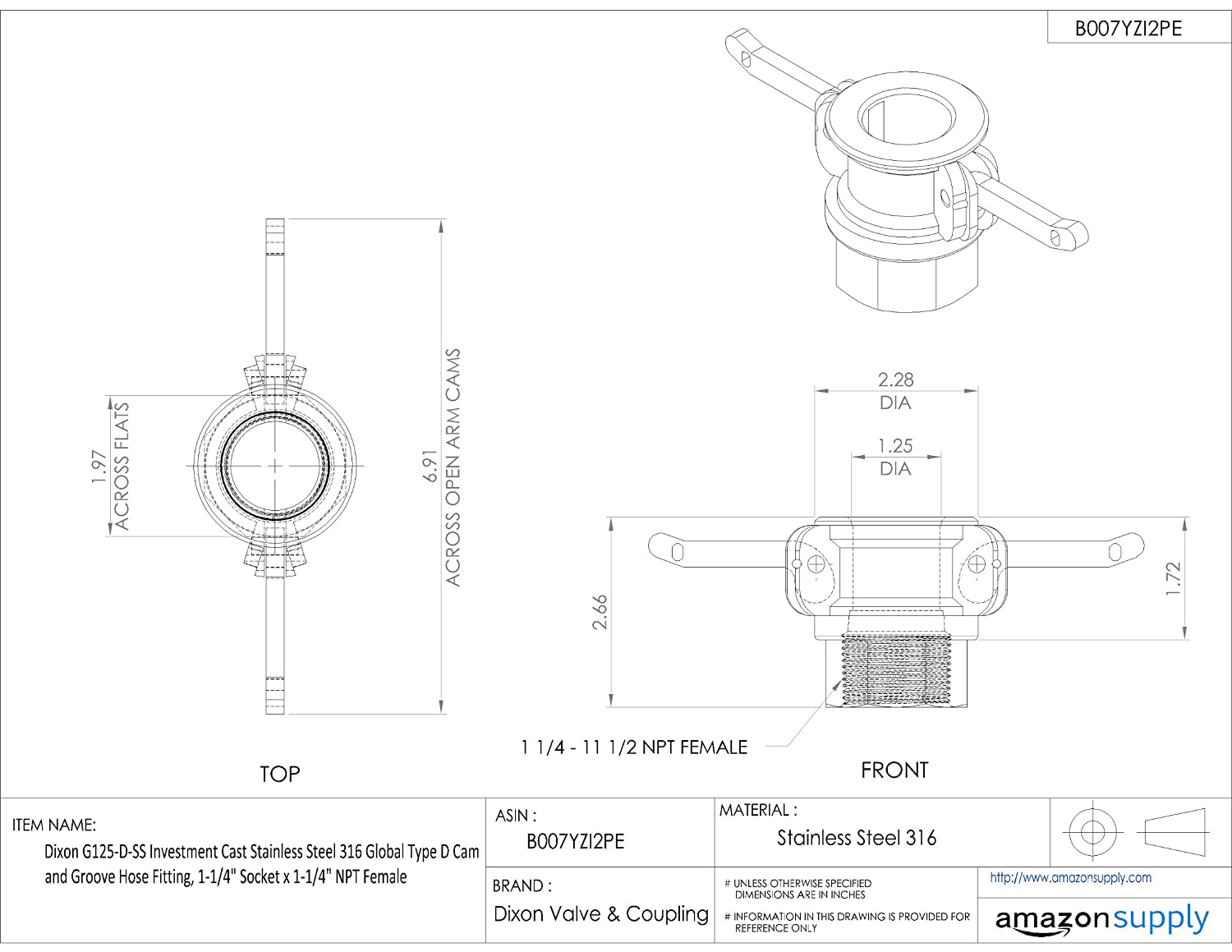 Dixon G250-D-SS Investment Cast Stainless Steel 316 Global Type D Cam and Groove Hose Fitting 2-1//2 Socket x 2-1//2 NPT Female