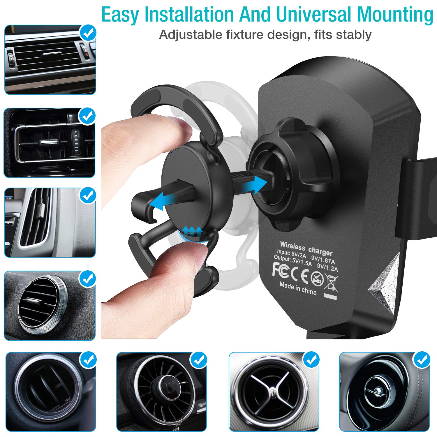 9 Black TOZO Wireless Car Charger Motor Clamping Silent Mount Holder Auto Sensing Fast Charging for iPhone Xs//XR//Xs Max//X//10//8//8 Plus Samsung Galaxy S8 S8 S9 S9 S10 S10 Note 8