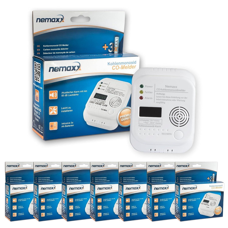 9x Nemaxx Co Melder - intelligenter Kohlenmonoxid Sensor, batteriebetriebener Warner und Alarm mit Digitalanzeige - nach DIN EN50291 CO09