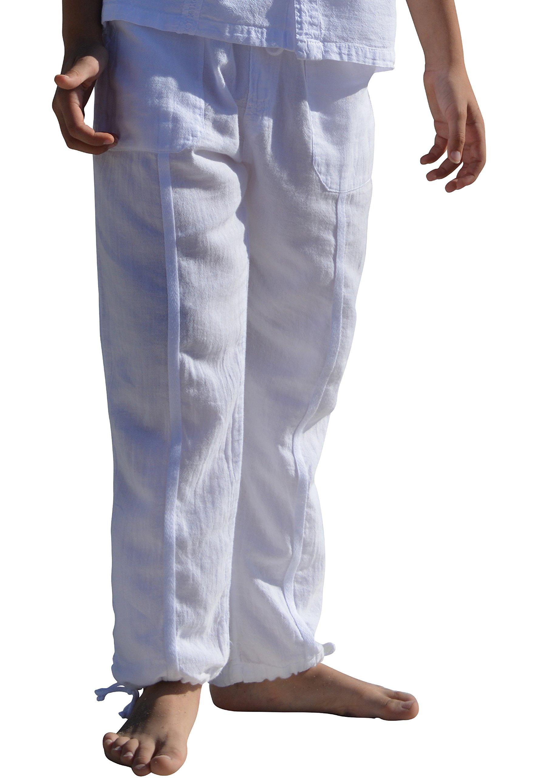 Cotton Natural Boys Pants Summer Drawstring Casual Beach Long Pants