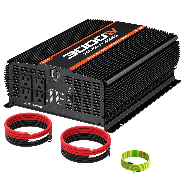 POTEK 3000W Power Inverter 4 AC Outlets DC 12V to 110V AC Car Inverter with 2 USB Port