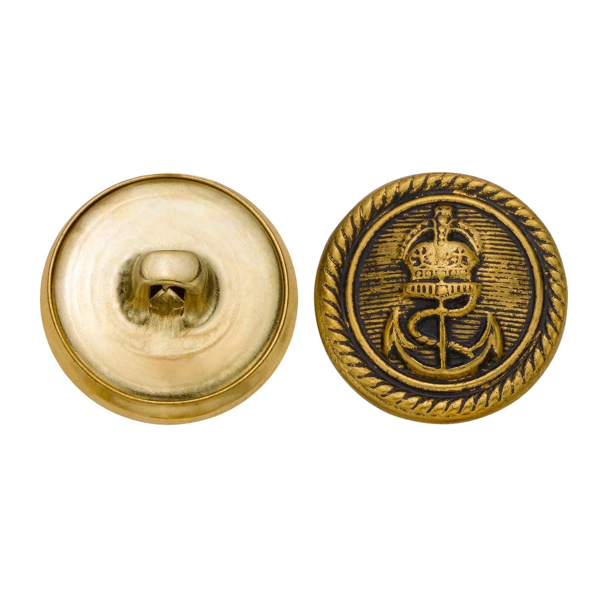 C&C Metal Products 5269 Royal Anchor Metal Button, Size 30 Ligne, Antique Gold, 36-Pack