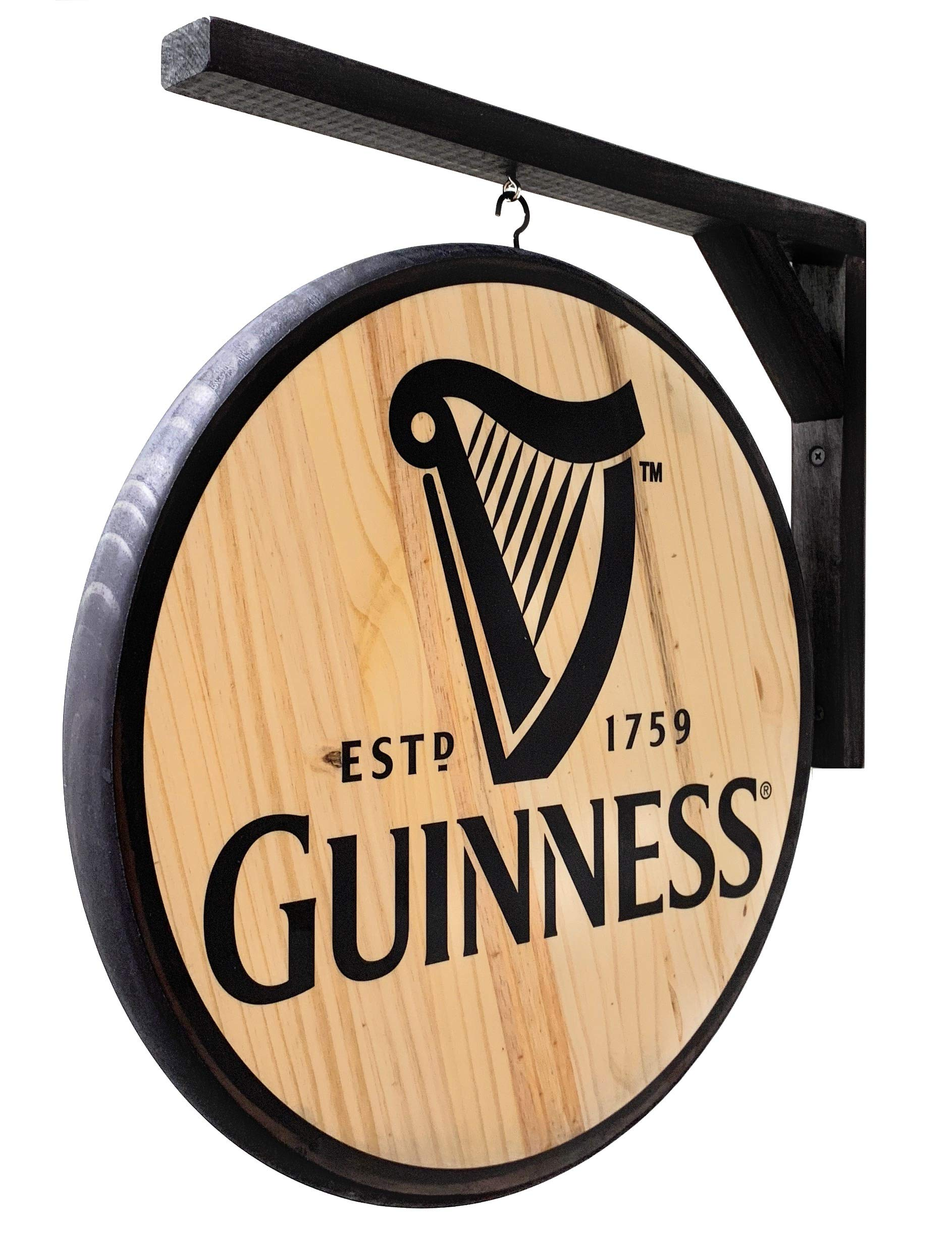 Guinness Sign - Classic 15 inch Dia, Double-Sided Pub Sign - Includes Wood Hanging Bracket by Guinness Stout