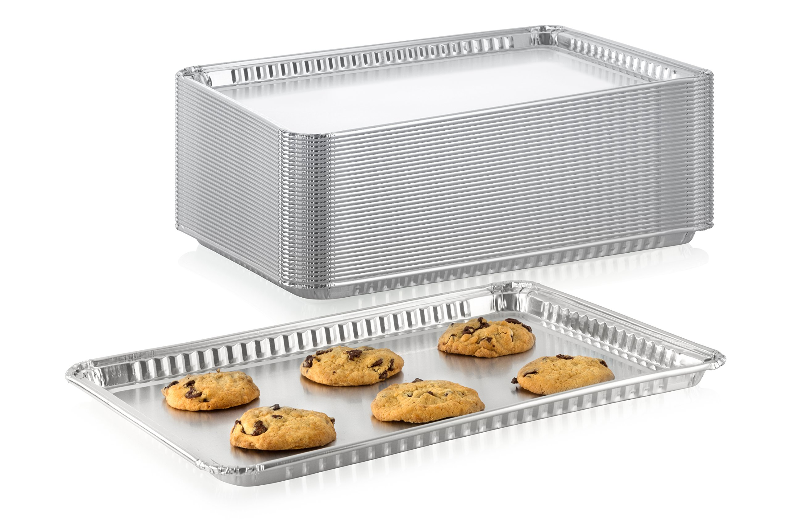 Pack of 10 Durable Aluminum -1/2 Half Size Sheet Baking Pan| Super Strong Disposable Foil Baking Tins | Ideal for Cakes, Cookies, Biscuits Pastries, Pizza and More | Size: 17-5/8'' L x 12-13/16'' W