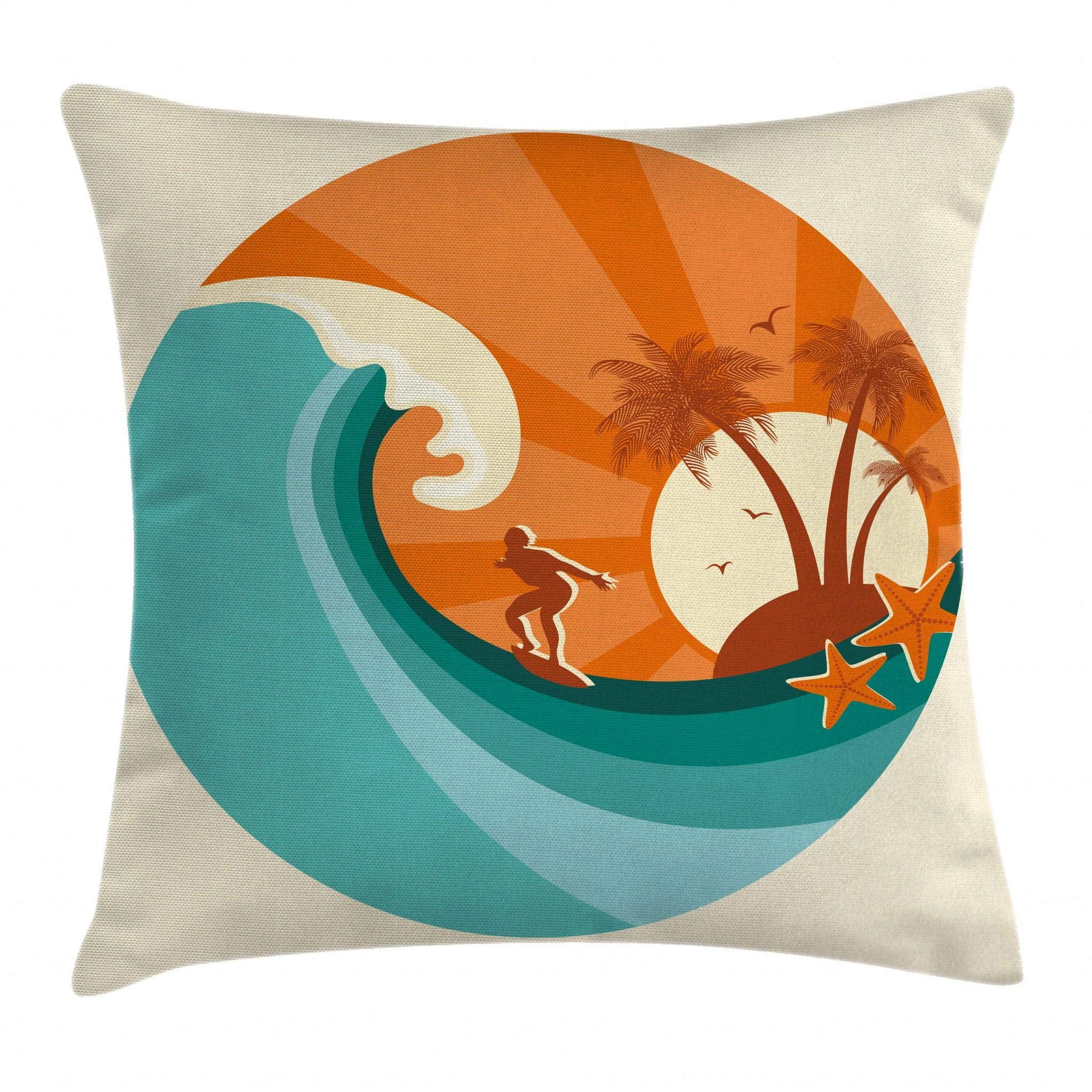 Ambesonne Ride The Wave Throw Pillow Cushion Cover, Retro Man Surfing at Beach Island Coconut Palm Trees Illustration, Decorative Square Accent Pillow Case, 18 X 18 Inches, Orange Teal Ivory
