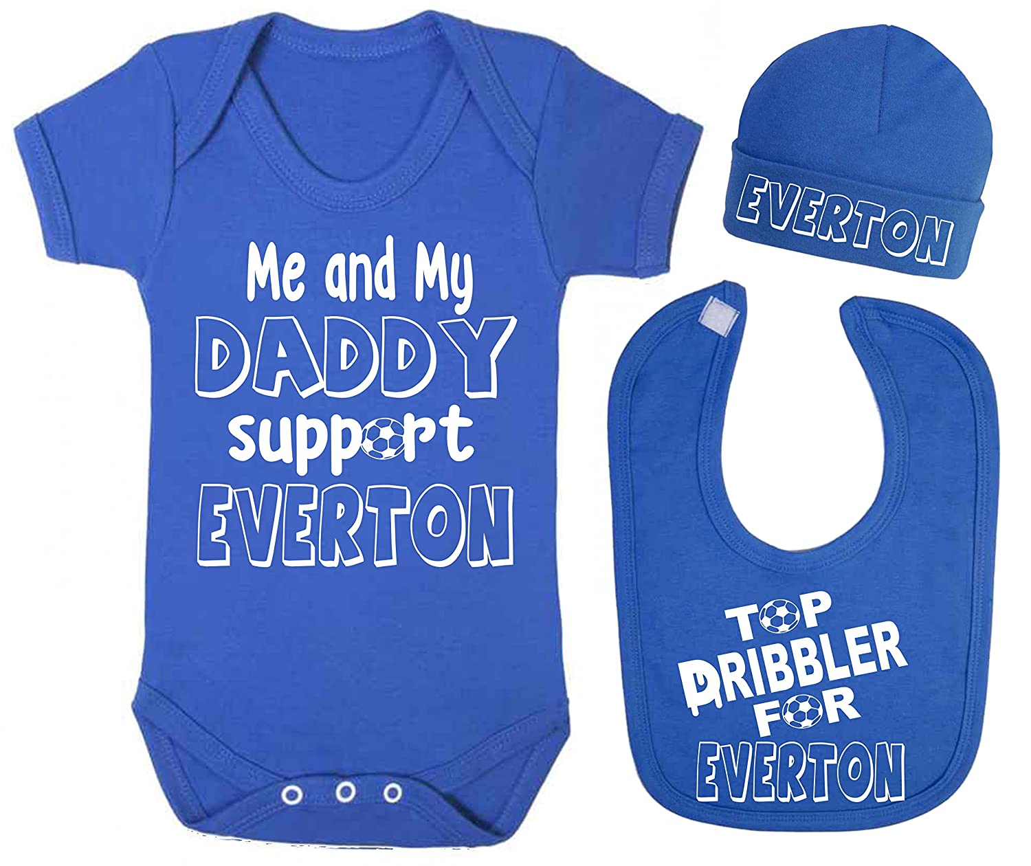 Support Everton Top Dribbler Baby Vest Hat and Bib Set Football Baby Vests