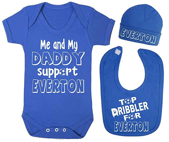 5f412c8fed7 Me and My Daddy Support Everton Baby Vest Hat and Bib Set Babygrow Bodysuit  Clothing Sets Football (0-3 Months)  Amazon.co.uk  Baby