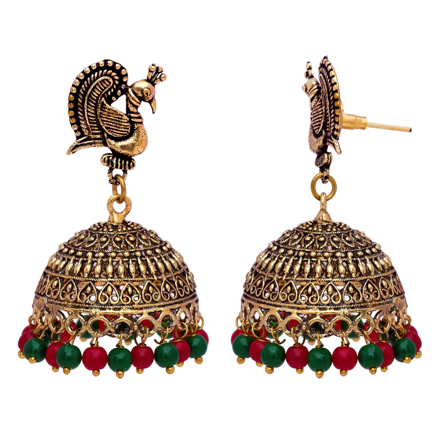 4eb16982ba311 VL Impex Gold Tone Maroon & Green Color Jhumka Earrings For Women