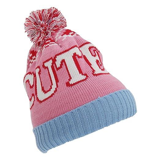 684e92d52b4 Universal Textiles Childrens Girls Slogan Design Winter Bobble Hat (One Size)  (Cute)