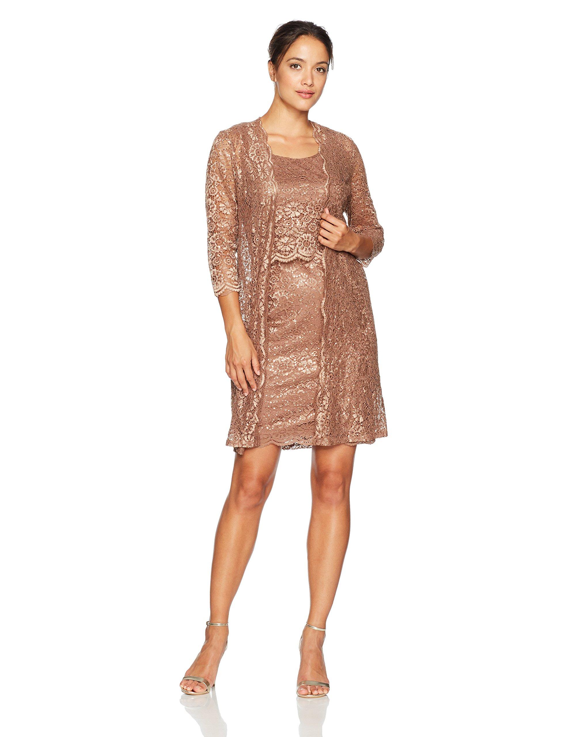 R&M Richards Women's Petite 2 PCE Laced Scallop Coat Dress, Cocoa, 12P