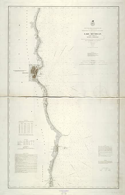 Amazoncom Vintography 8 X 12 Inch 1876 Us Old Nautical Map Drawing - Lake-michigan-us-map