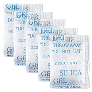 45 Pcs 5 Gram Silica Gel Packs, Transparent Dessicant, Dessicant Packets for Storage, Moisture Packs for Spices Jewelry Shoes Boxes Electronics Storage, Food Safe