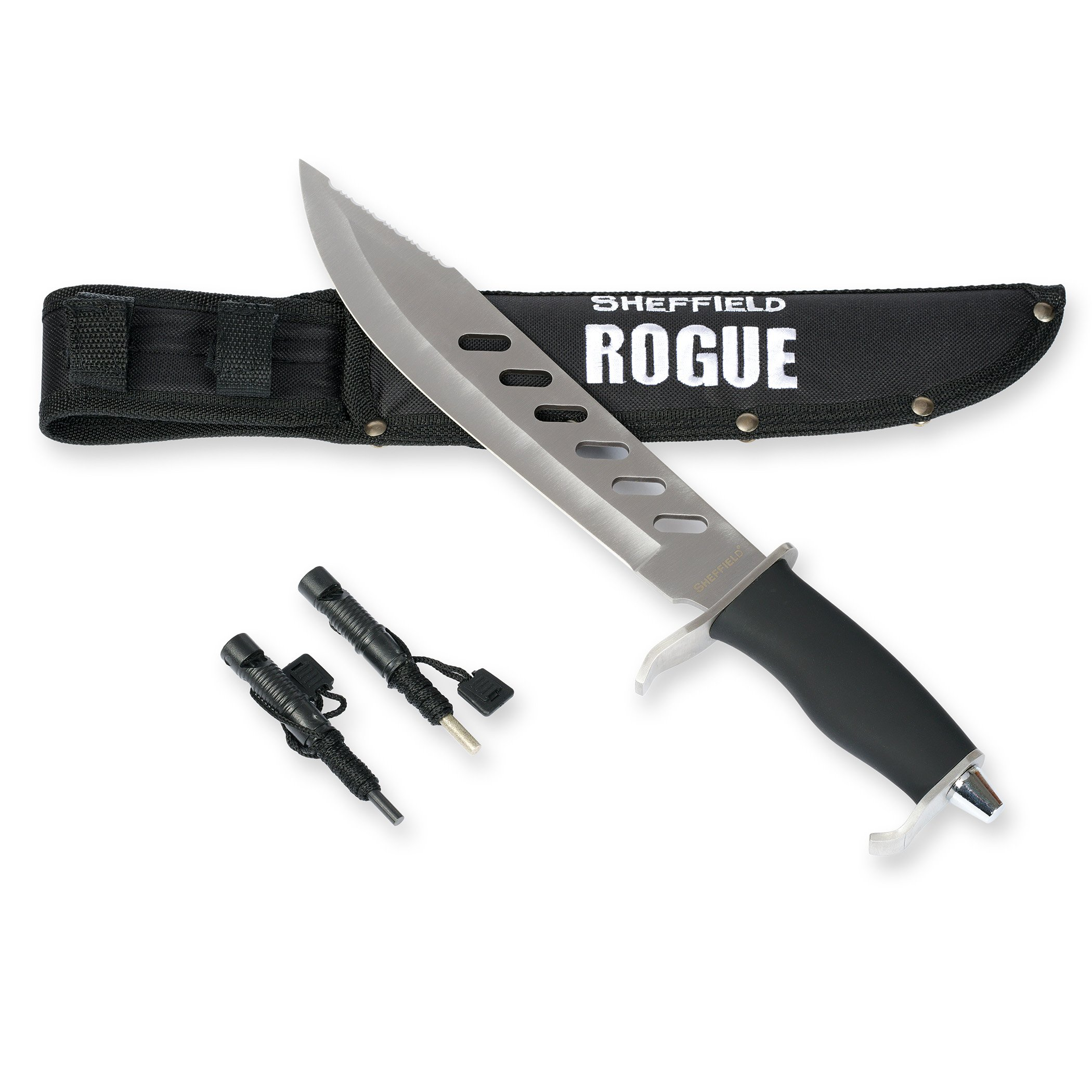 SHEFFIELD Rogue 10-inch Fixed Blade Hunting Knife W/ Bonus Sheath Firestarter Sharpener