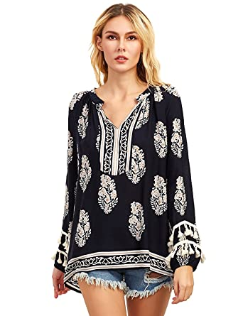 58c45724de0 Floerns Women's Boho Mexican Print Loose Casual Long Sleeve Tunic Top Blouse  Black XS
