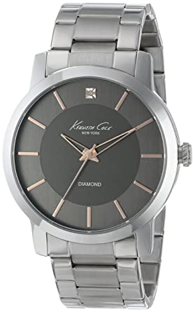 Kenneth Cole New York Mens KC9328 Rock Out Round Grey Dial Rose Gold Detail Diamond Watch