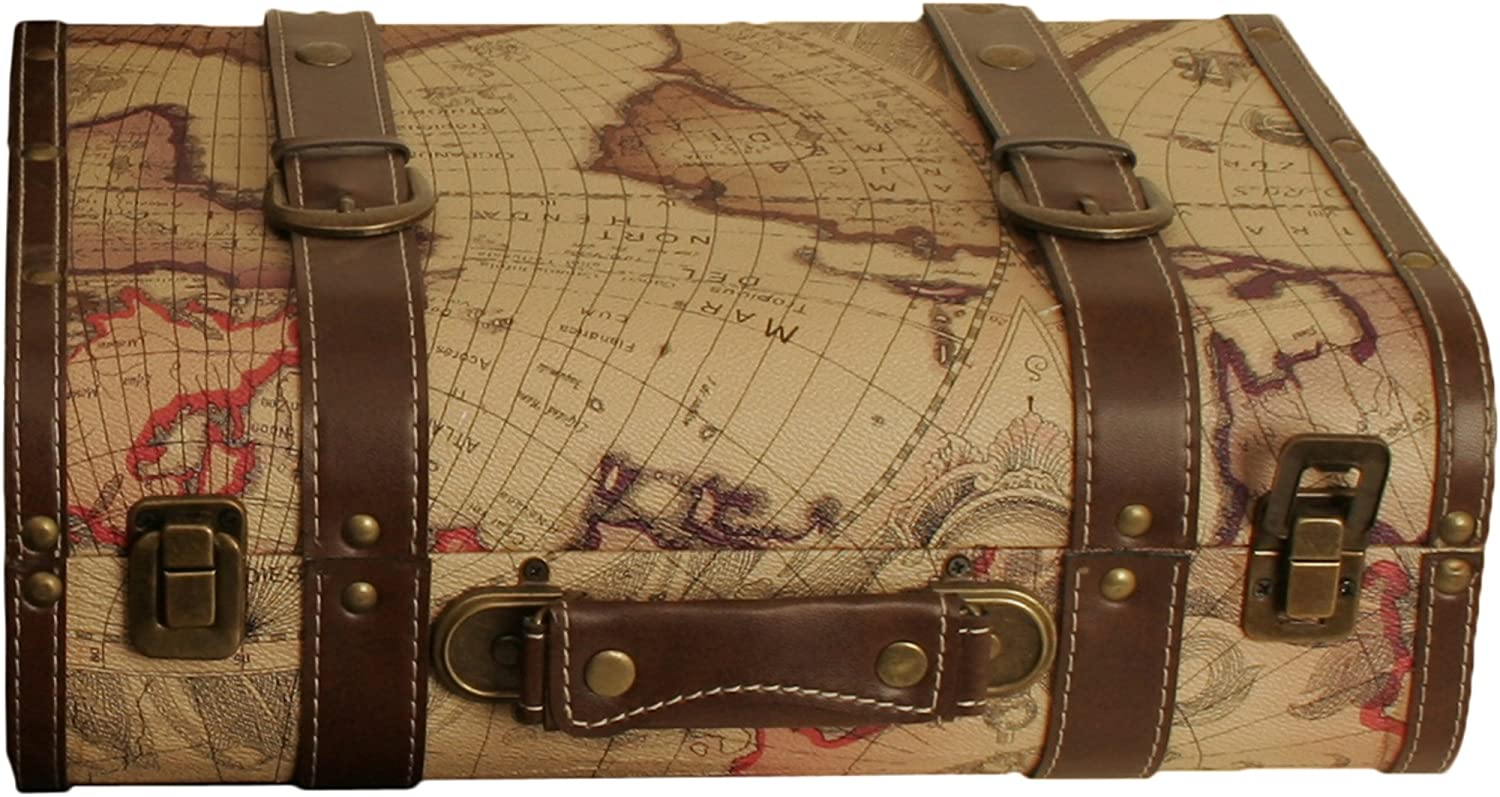 Wald Imports SP0015 Map Faux Leather Suitcase Storage