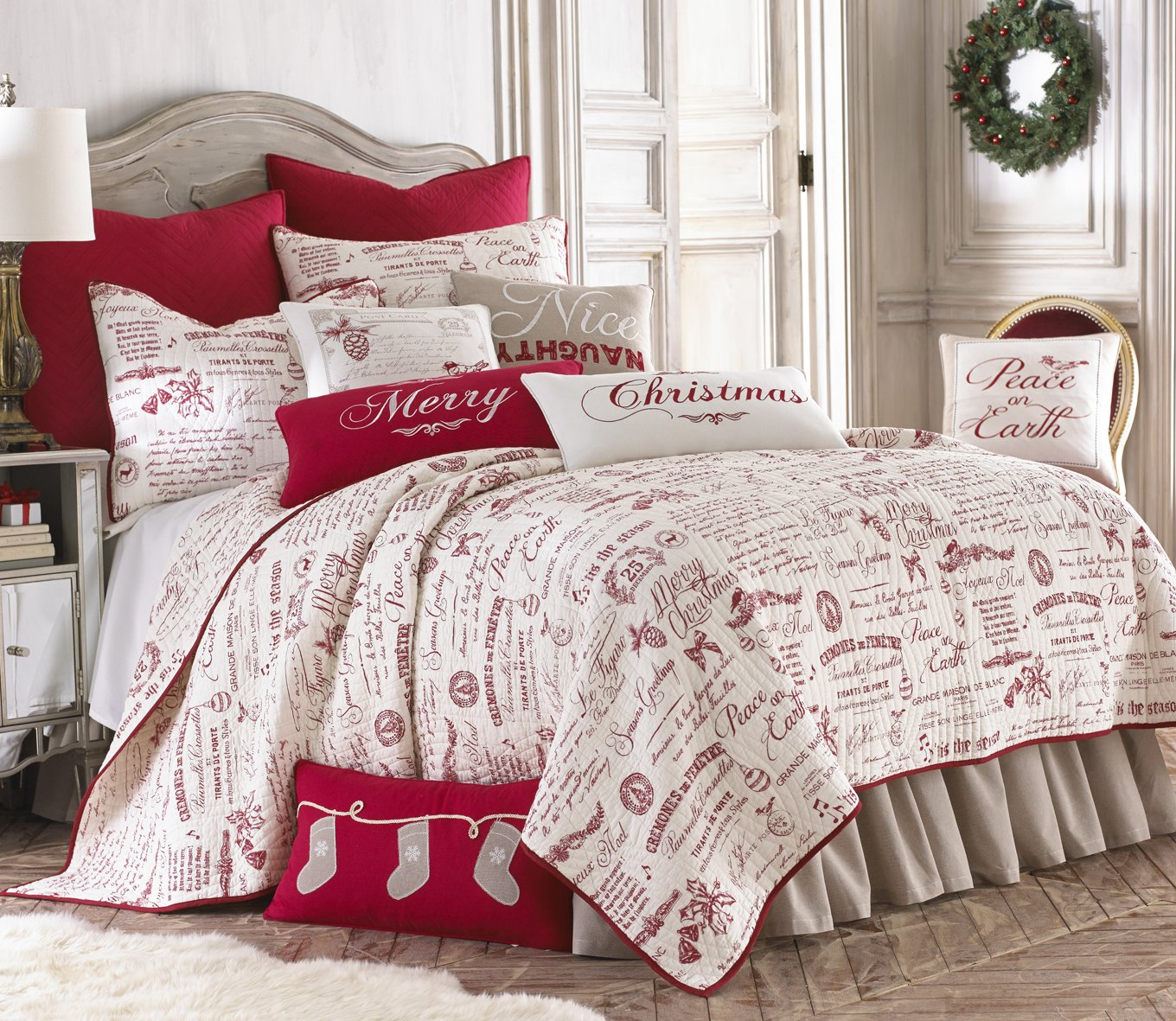 Levtex Noelle King Quilt Set, White/Red Script, Cotton Christmas Holiday