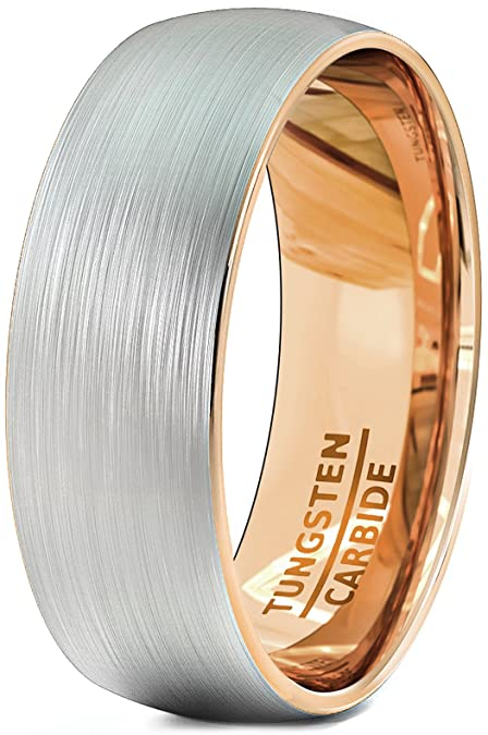 f4eb8e3835e Mens Wedding Bands 8mm Brushed Tungsten Rings Rose Gold Inside Dome Comfort  Fit  Amazon.ca  Jewelry