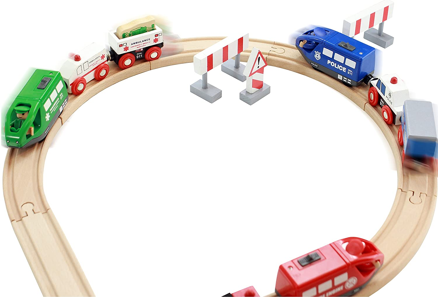 Includes 3 Motorized Engines and 6 Cars On Track USA Battery Operated Action Rescue Trains Compatible for Wooden Tracks from All Major Brands Batteries Not Included