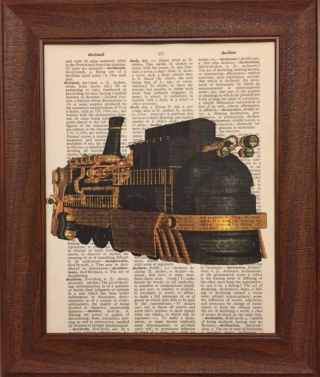Ready Prints Steam Punk Train Dictionary Book Page Artwork Print Picture Poster Home Office Bedroom Nursery Kitchen Wall Decor - unframed