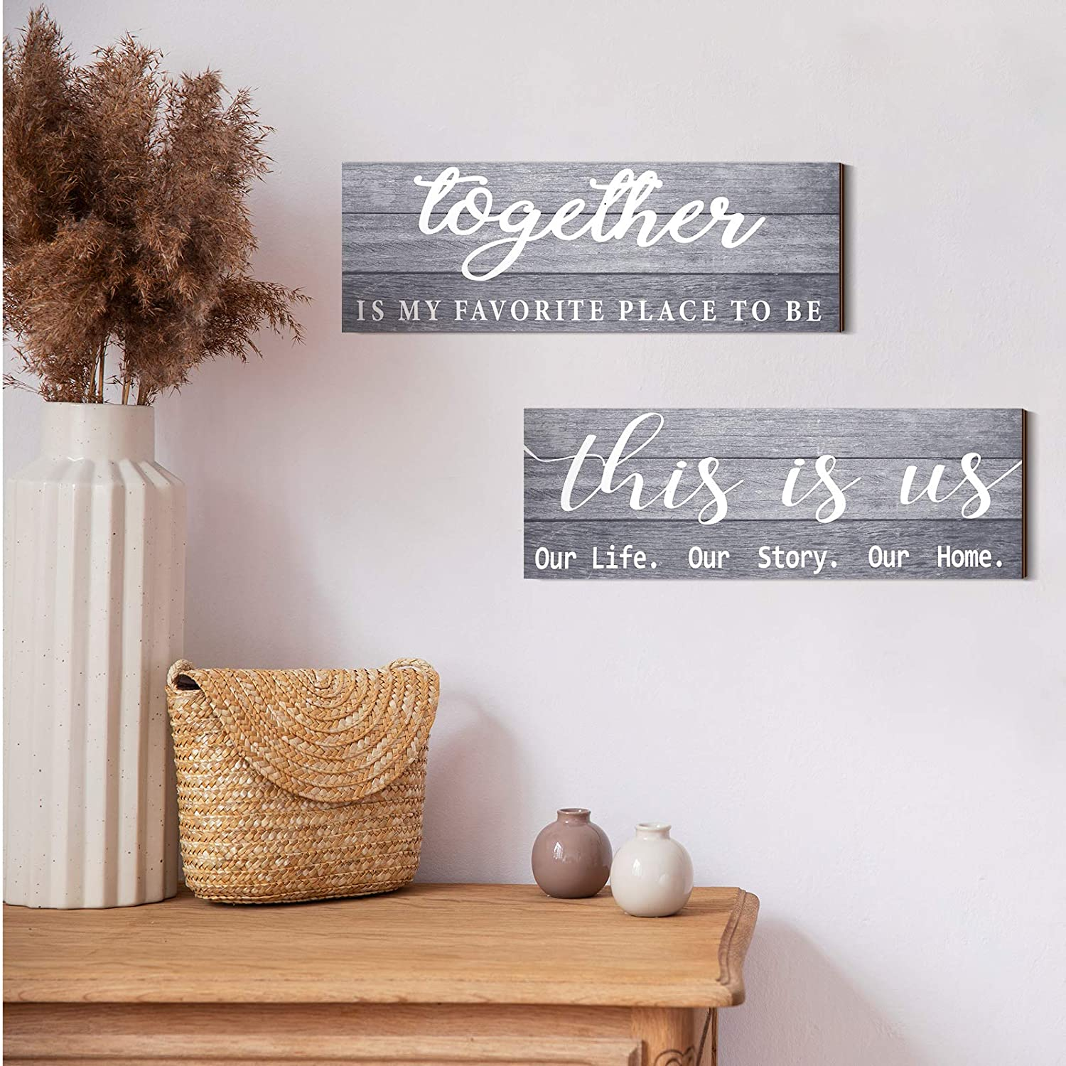 Jetec 2 Pieces This is Us Our Life Our Story Rustic Print Wood Signs Together Rustic Wooden Wall Art Signs Farmhouse Entryway Signs for Bedroom Living Room Office Decor, 4.7 x 13.8 Inch