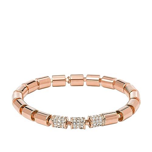 Fossil Damen-Armband Edelstahl rosévergoldet Glas weiß JA65447
