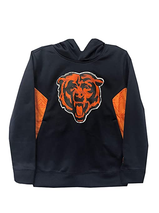 fbc6cfc2 Outerstuff Chicago Bears NFL Team Apprel Youth 8-20 Navy/Orange Primary  Logo Hoodie Hooded Sweatshirt