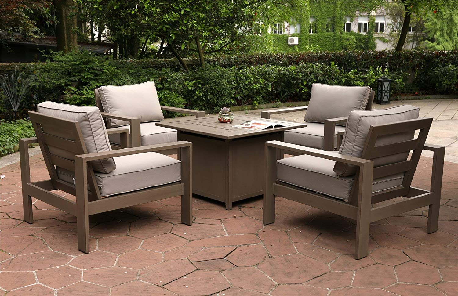 Amazon com marativa 5 piece fire pit set 4 club chairs square chat high gas fire pit table garden outdoor