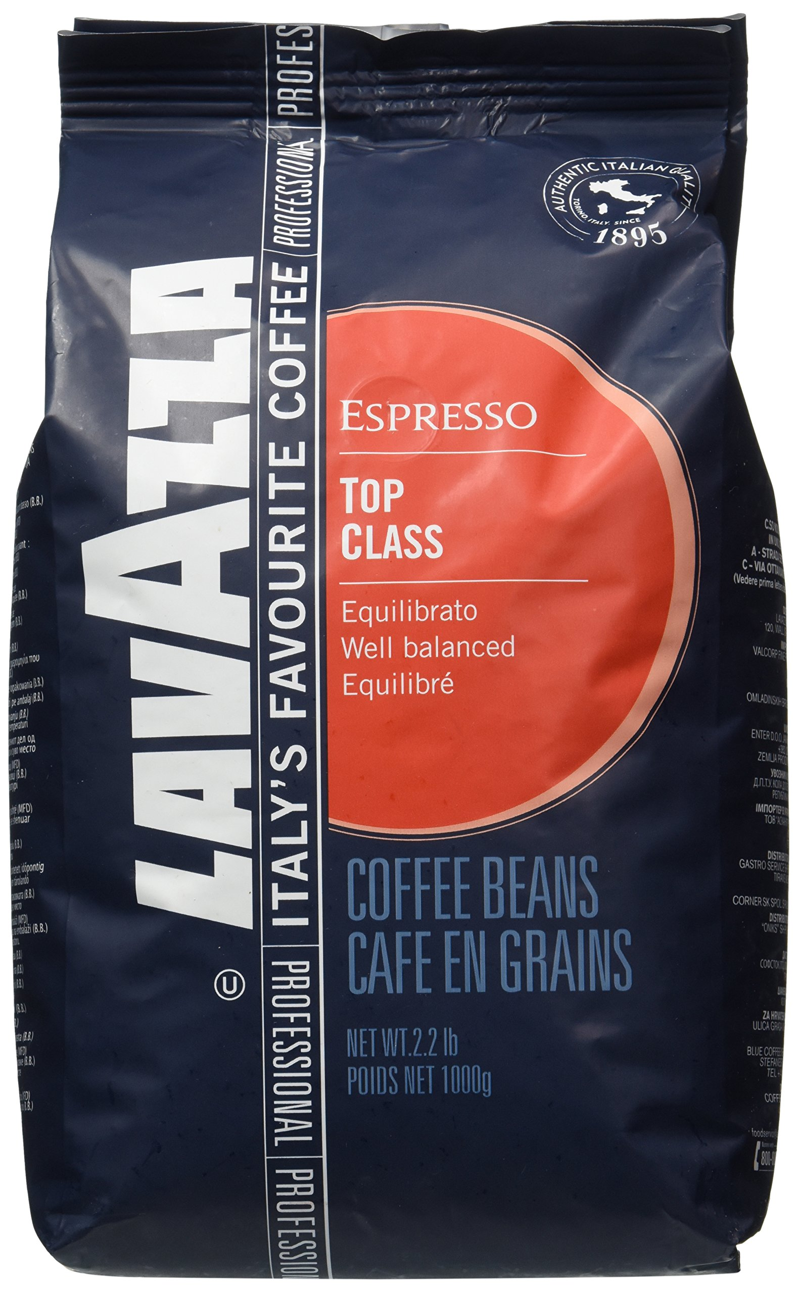 Lavazza Top Class Espresso Whole Beans Coffee 2.2lb/1kg