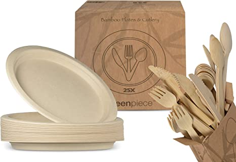 greenpiece ® 25 Platos Llanos de Fibra de Bambú 25cm + 25 juegos de cubiertos | Gran Resistencia | Embalaje sin plástico | Desechables | Ecológicos | ...