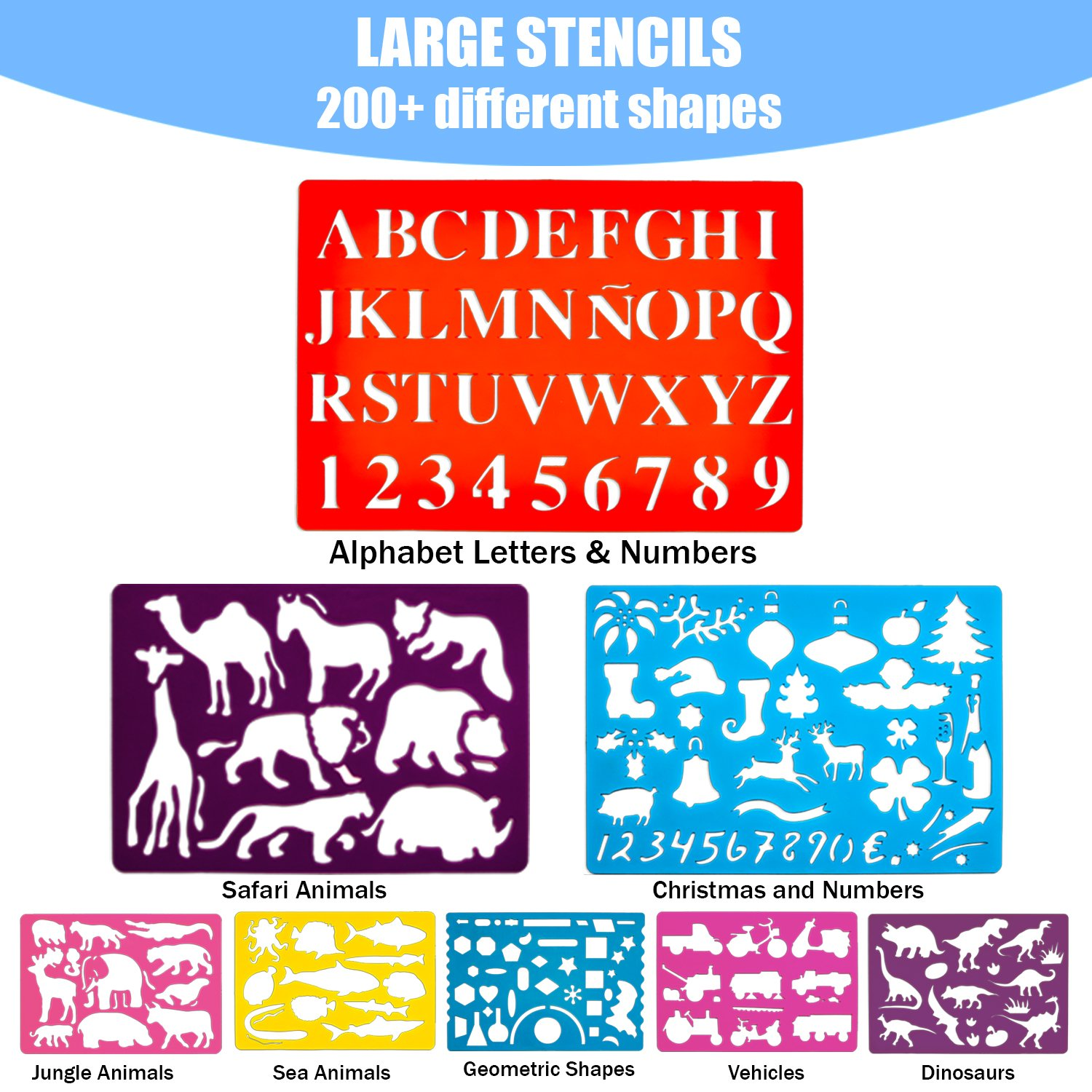Drawing Stencils for Kids Letters Numbers /& 200+ Shapes to Enhance Toddlers /& Kids Creativity Art Supplies Gift Set for Girls and Boys Age 3 and up Popular New Arts and Crafts Toy for Children