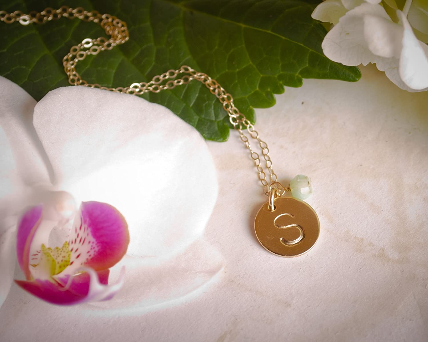 Medium Gold Filled Custom 12.7mm Personalized Letter Disc Birth Month Charm EFYTAL Initial Necklace