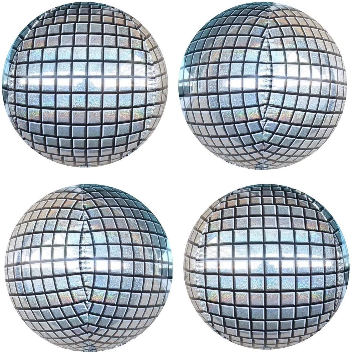 4Pcs 22inch Silver Laser Disco Ball Balloon Hangable 4D Large Round Inflatable Sphere Shaped Aluminum Foil Mirror Balloon Birthday Party Wedding Baby Shower Marriage Decor Supplies