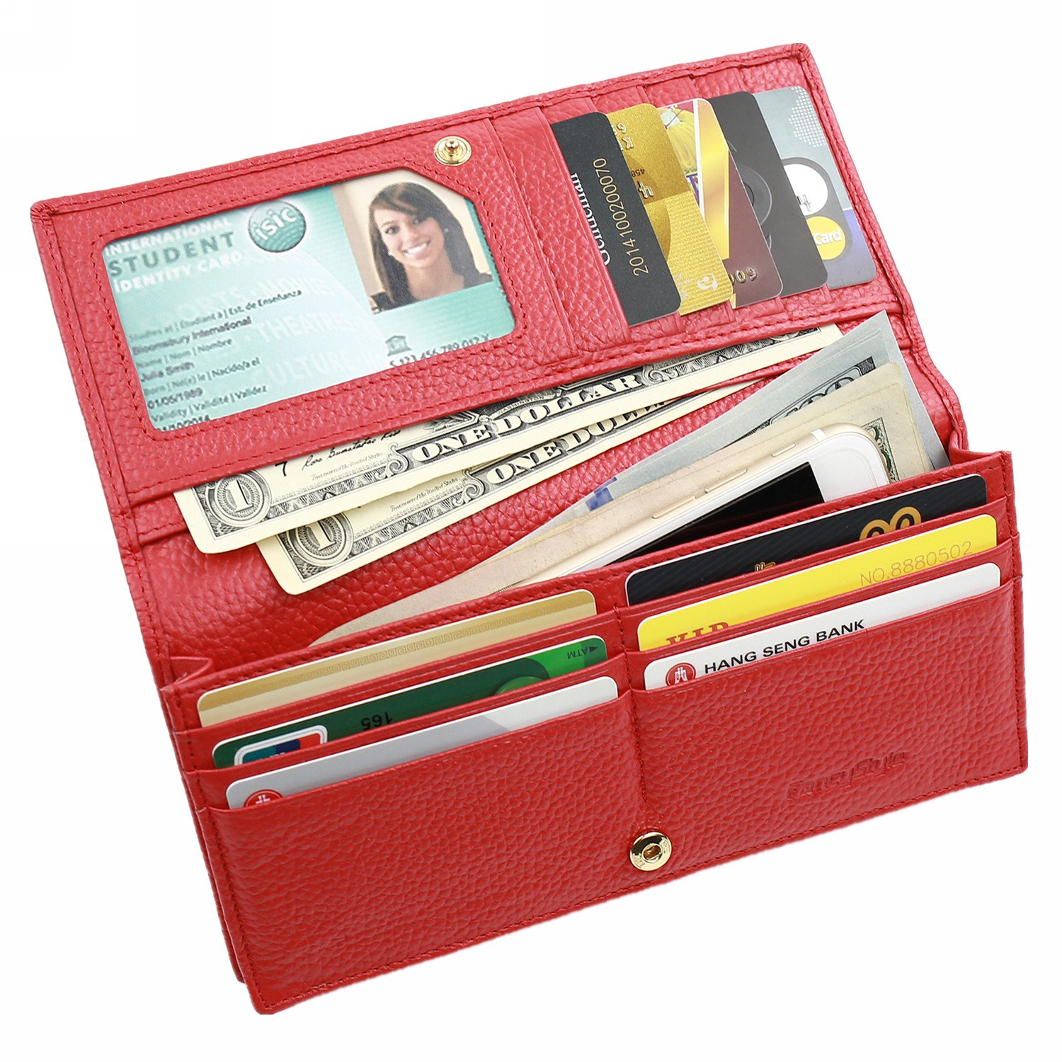 RFID Blocking Long Wallet for Women Leather Slim Bifold Safe Credit Card Protector Red