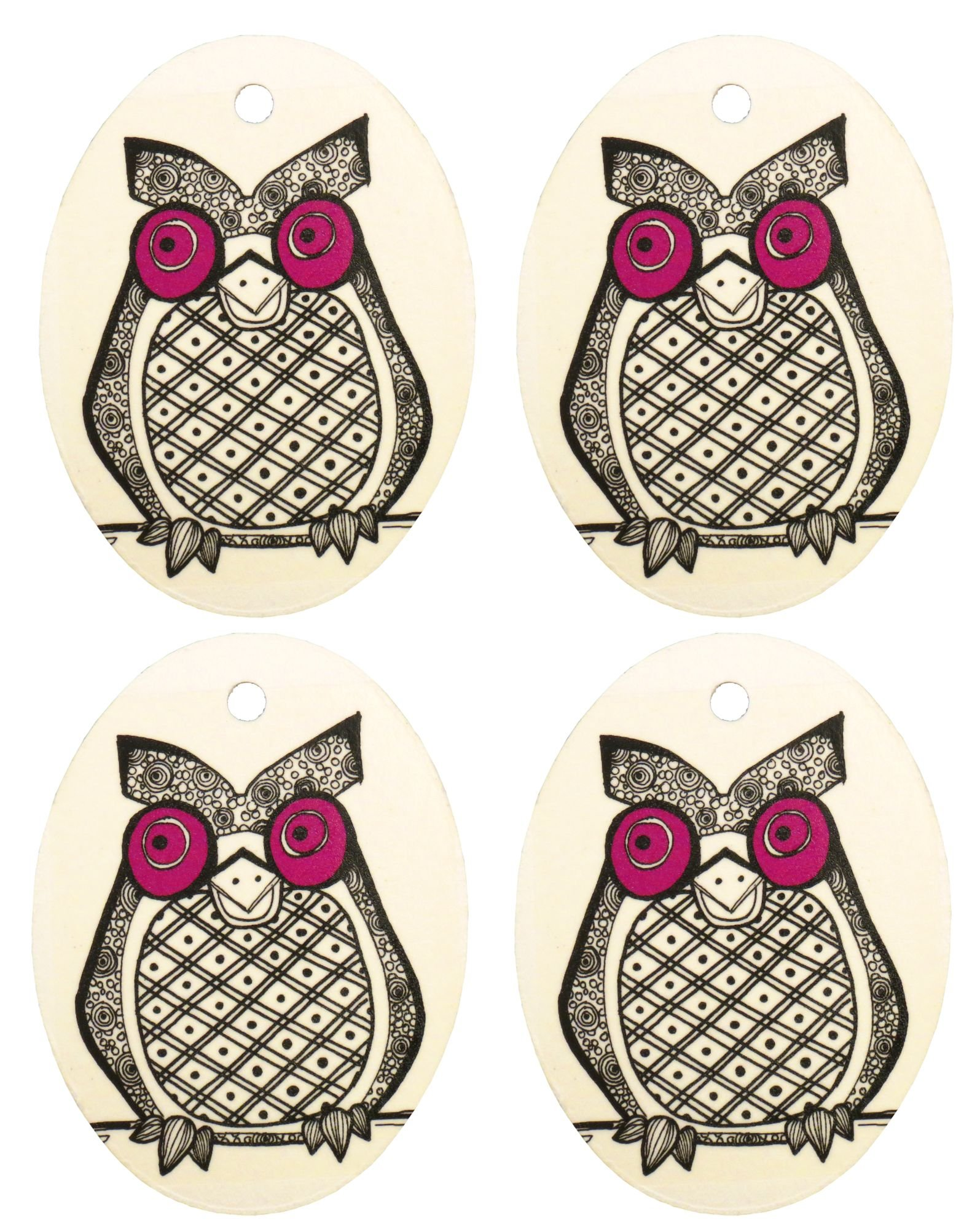 Set of Four Owl Print Air Fresheners, Purple, Cedarwood Essential Oil by Eclectic Lady (Image #1)