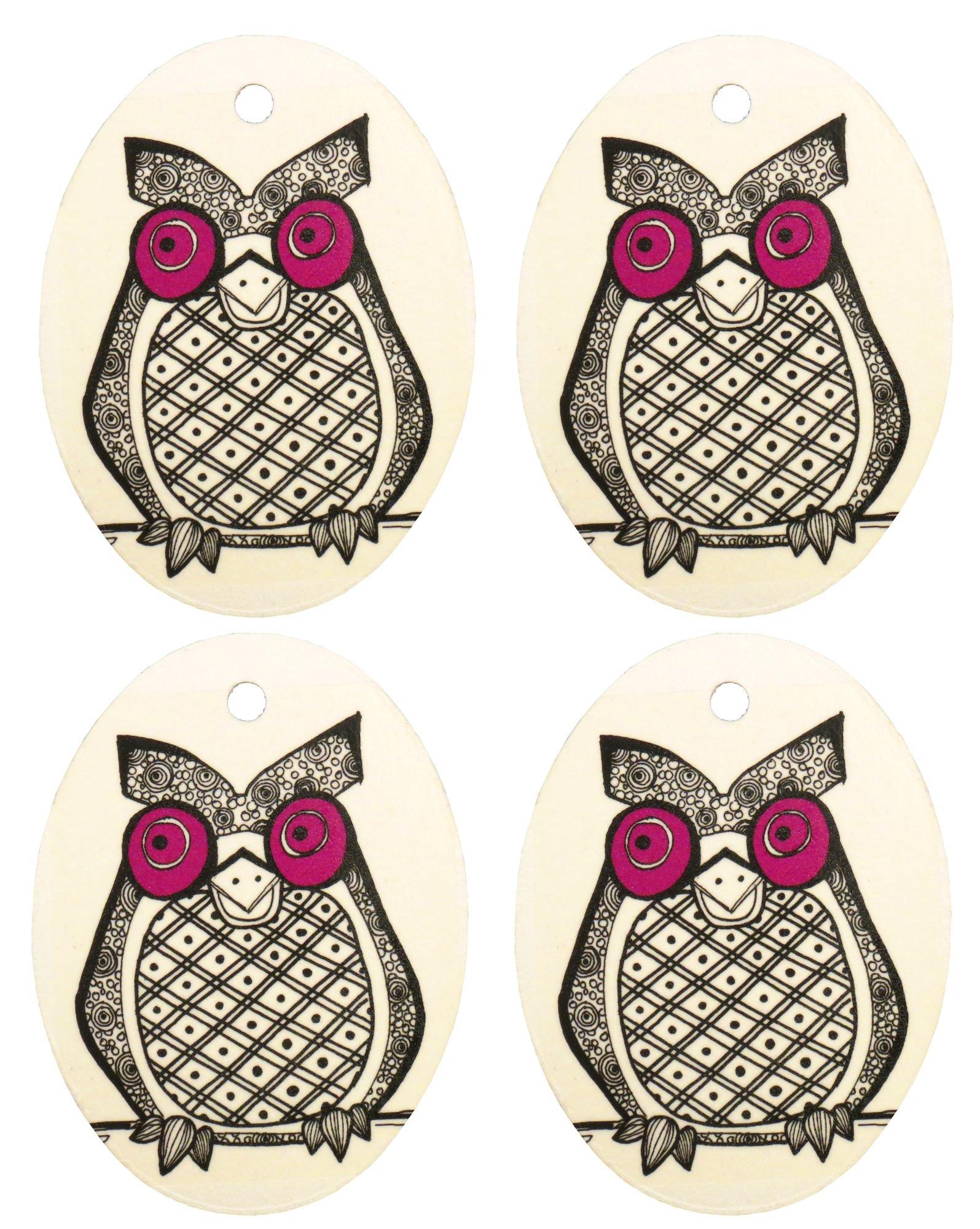 Set of Four Owl Print Air Fresheners, Purple, Cedarwood Essential Oil