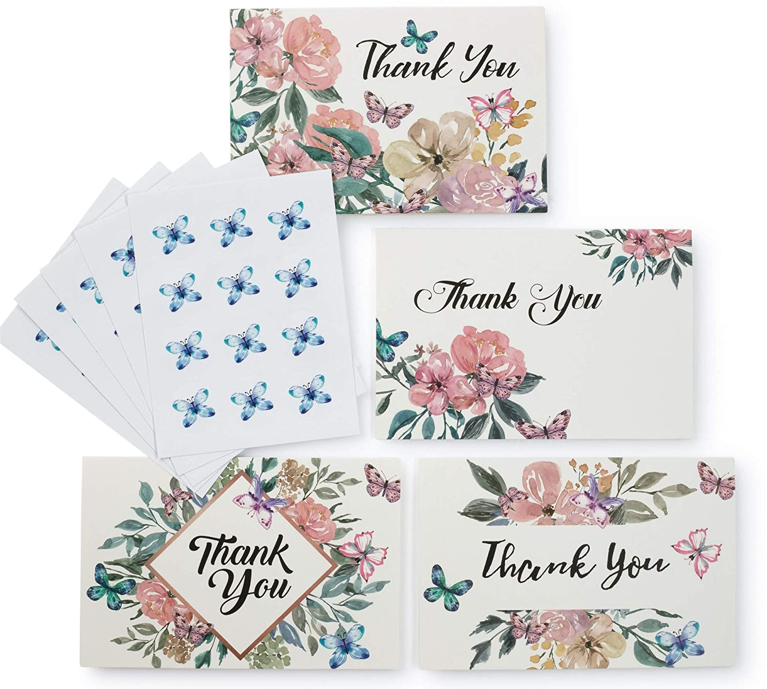 Banana basics floral thank you cards bulk set w envelopes 60 pack blank note cards 4 x 6 size 6 designs includes stickers wedding bridal showerbaby