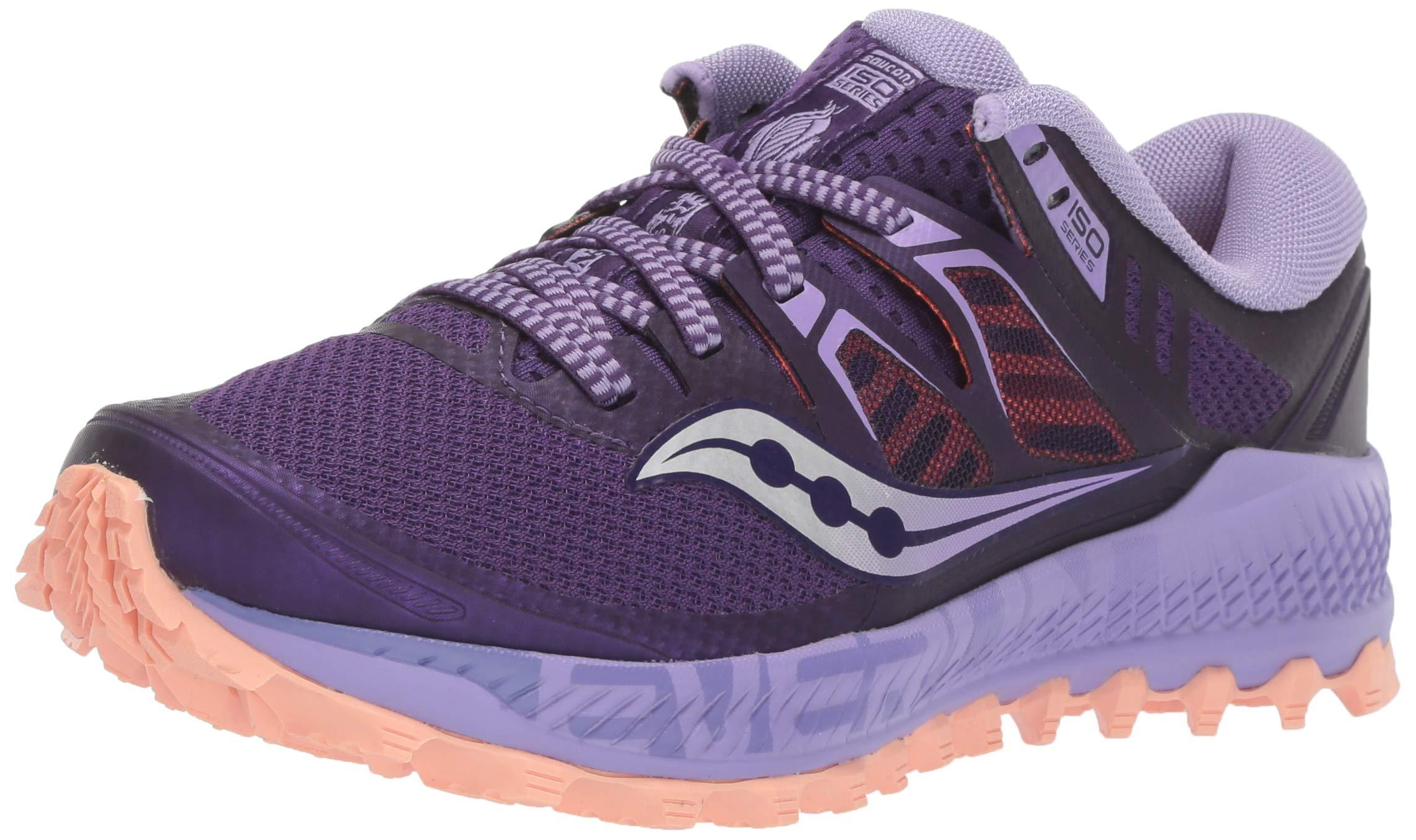 Saucony Women's Peregrine ISO Road Running Shoe, Purple/Peach, 5 M US