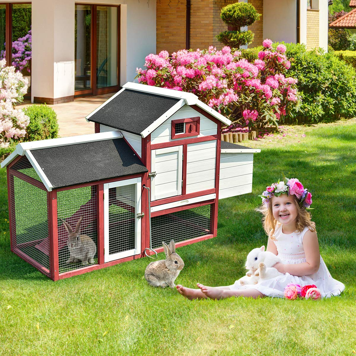 Tangkula 60'' Large Rabbit Hutch Wooden White Rabbit Bunny Outdoor Animal Cage Rabbit Hutch House with Black Linoleum Roof by Tangkula (Image #3)