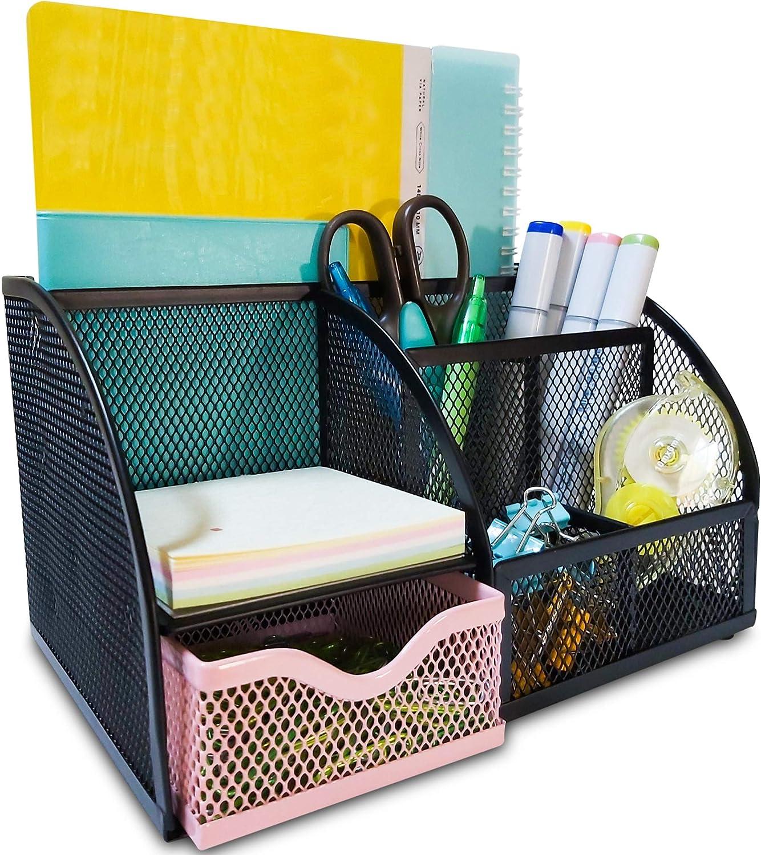 Mesh Desk Organizers Keep Office Supplies in 1 Place - Desktop Organizer, Office Organizer for Desk - Office Supplies, Desk Organizer – Black/Pink